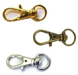 Sleutelhanger/sluiting Metaal ± 32x12x4mm - Zilver, Goud of Brons