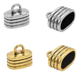 Eind kapjes - metaal met oog - oud zilver of oud goudkleur - ca 15x13mm - 2 stuks