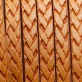 Plat Cognac Bruin Imitatie Leerkoord met Vlechtpatroon  - 5x2mm - 20cm