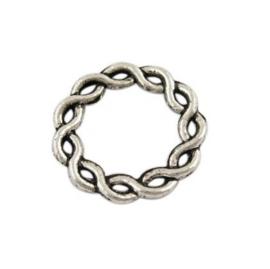 Metalen Tussenzetsel Ring, Rond 2 zijdig bewerkt - 15mm Antiek Zilver - 5 stuks