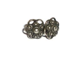 Zeeuwse knop oorstekers - ca 1cm -  Zilverkleur