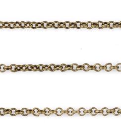 Jasseron Ketting, oud bronskleur, schakel 2mm,  ca 1meter