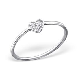 Zilveren Ring met Hartje en Blanke Zirkiona - 925 sterling zilver