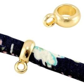 Kraal / Ring met oog - Goudkleur Metaal - 11x8x4 mm - gat 5mm