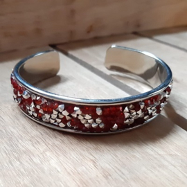 Armband Cuff Diamond Glitter - Rood / Zilver Strass