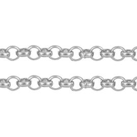 Lange Zilverkleurige Metalen Halsketting - Rolo Jasseron - 6mm