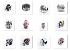 Bedels Pandora style met Kleur Strass Steentjes