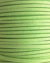 Faux Suede koord Plat - Zachtgroen ( softgreen) 3x1.4mm – 1 meter