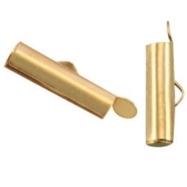 Schuif Eindkap DQ metaal - Goudkleur - 2 stuks