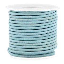 DQ Leer Haze Blue  - Vintage  -  2mm rond - 50cm