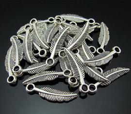 Hanger Bedel – Veer – Antiek Zilver – Metaal 21x5mm