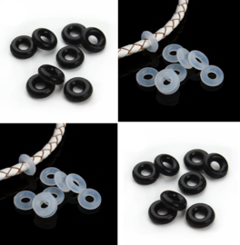 Rubber Ringetjes ( stopper) wit of zwart - 10 stuks