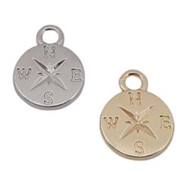 Bedel / Hanger - Kompas – Antiek Zilver of Goudkleur