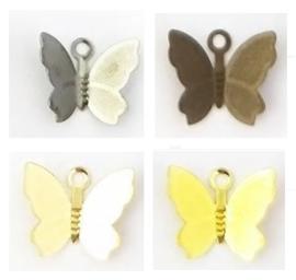 Bedel Hanger Vlinder – Filigraanlook metaal - 13x11mm - brons, goud, oudgoud, oudzilver - 10 stuks