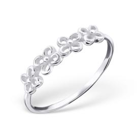 Zilveren Ring met Bloemen - 925 sterling zilver