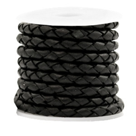 DQ Rond gevlochten Leer 4mm - Zwart - 4 draden - 20cm