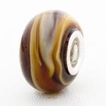 Bruine Murano Glasbedel - met 925 Zilver Kern