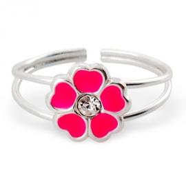 Kinder ring Bloem - 925 sterling zilver - met 1 strass steentje + Roze Epoxi