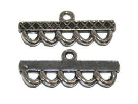 Verdeler / eindstuk 1-5 rings Antiek Zilverkleur 38x10mm - 2 stuks