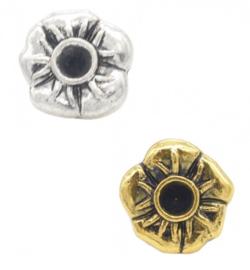 Schuifkraal metaal - bloem - 10x9mm - met kastje voor similisteen - voor rond leer/koord