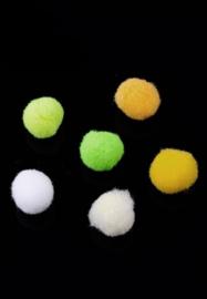 Pompon Balletjes - Bedels - Stof – Oranje Groen Geel Wit Mix -10mm
