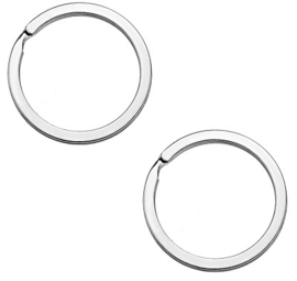Platte Metalen Sleutelhangerring / Splitring - Rhodiumkleur  - 25 of 30mm