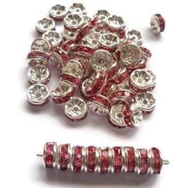 Strass Rondellen kristal - Silver Plated -  8mm - Fuchsia Roze - 10 stuks