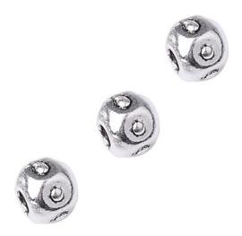 Metalen Kraal Rond - Antiek Zilverkleur 5x4 mm  - 10 stuks