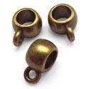 Kraal met oogje – Oud Bronskleur metaal 9x6x3 gat 3mm - 5 stuks