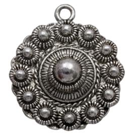 Zeeuwse Knop Hanger - 26mm - Antiek Zilverkleur