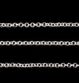 Jasseron Ketting, silverplated metaal, schakel 2mm, ca 50cm
