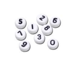 Cijferkralen 0 - 9 - wit met zwarte cijfers - kunststof -  4x7mm