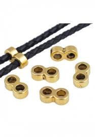 Verdeler met 2 gaatjes van ca 3,5mm - Oud Goudkleur -afm. ca. 13x7mm - 1 stuks