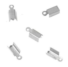 Lintklem / Veterklem - Zilverkleur  Metaal - 12x5x4mm - 10 stuks