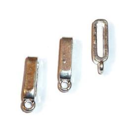 Leerschuif / schuifkraal voor plat leer of koord met oog - Oud Zilverkleur Metaal - Gat 10x2mm
