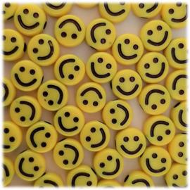 Acryl Smiley Kralen 9mm - Geel - 10 stuks