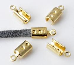 Lintklem / Veterklem - Goudkleur  Metaal - 10 x 4mm - 10 stuks