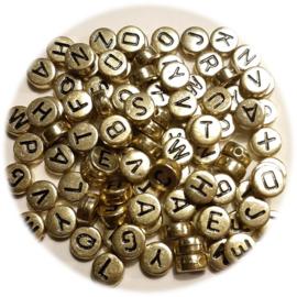Letterkralen A - Z - Goudkleur met zwarte letters - kunststof -  4x7mm - 100 stuks