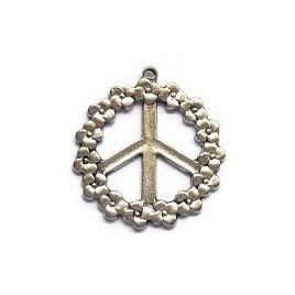 Bedel Hanger Peace Vredesteken met bloemenrand - metaal - 41x37mm