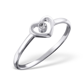 Zilveren Ring met open Hartje en Blanke Zirkiona - 925 sterling zilver