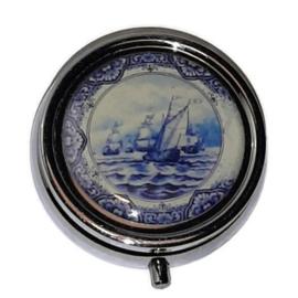 Zilverkleurig Pillendoosje Holland - Delftsblauw met Zeilschip