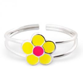 Kinder ring Bloem - 925 sterling zilver + Geel /Roze epoxi