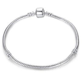 Pandora-style armband met bolsluiting - rhodiumkleur