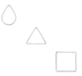 DQ metaal tussenstuk  Antiek zilver - driehoek, druppel of vierkant - 2 stuks