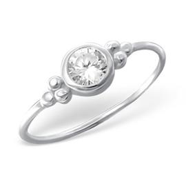 Zilveren Ring met ronde zirkiona - 925 sterling zilver