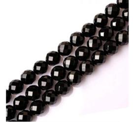 Facet Geslepen Glaskralen - 6mm - Rond - Zwart - 10 stuks