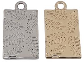 Bedel / Tag - Bladeren - Antiek Zilver of Goudkleur