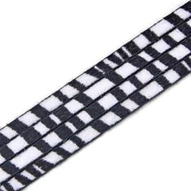 Plat Imitatieleer Vachtkoord 5x2mm - Zwart-Wit - 20cm