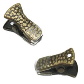 Klemmetjes - Clips met rubbertje - Antiek Brons- 20x11mm - 2 stuks