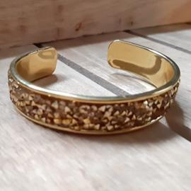 Armband Goudkleur Cuff met Diamond Glitter Goud Strass